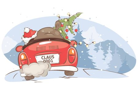 Santa hurries to bring gifts. Christmas card. grandfather with a bag and a Christmas tree in a convertible car, vector illustration.