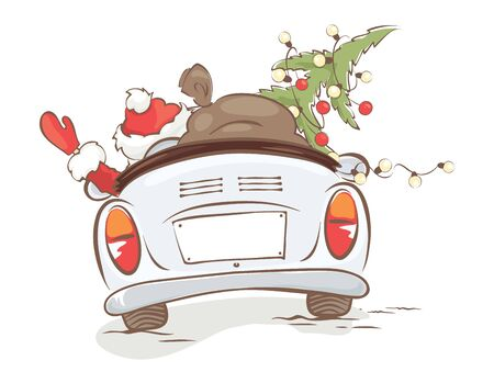 Santa hurries to bring gifts. Christmas grandfather with a bag and a Christmas tree in a convertible car, vector illustration. Ilustrace