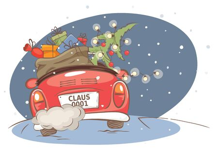 Santa hurries to bring gifts. Christmas card. grandfather with a bag and a Christmas tree in a convertible car, vector illustration. Eps 10.