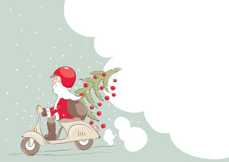 Santa on a scooter with a Christmas tree and gifts. Vector illustration with empty space.