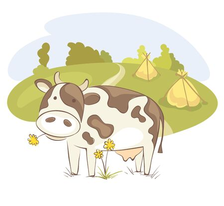Cow  Funny vector illustration, farm animals in the meadow
