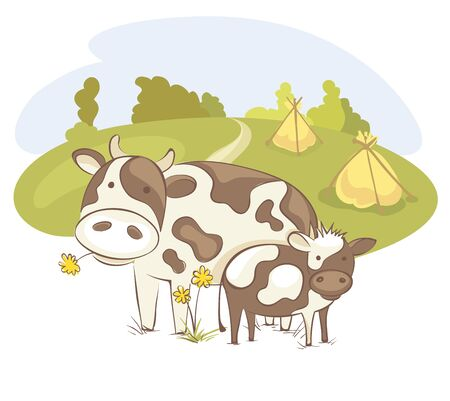 Cow with calf  Funny vector illustration, farm animals in the meadow Ilustracja