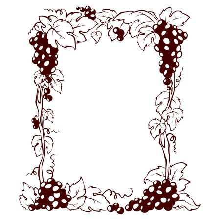 Frame from grapes / Vector illustration, floral design element Ilustração