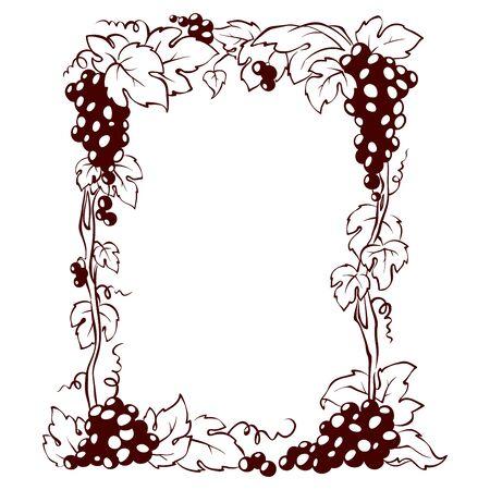Frame from grapes / Vector illustration, floral design element 向量圖像