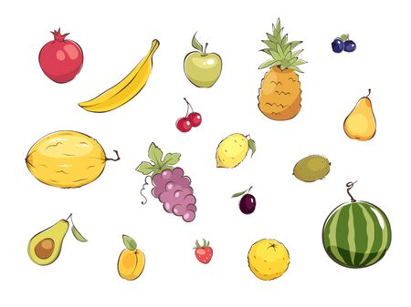 Collection pictures -- fruits and berries / Set graphic vector illustrations with different fruits 向量圖像