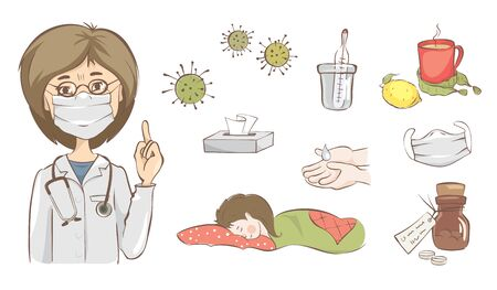 Viral diseases with set vector illustration, Doctor warns of precautions against viruses.