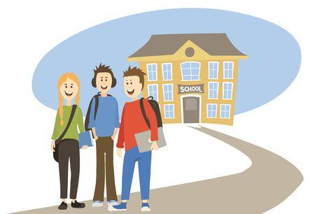Schoolchildren. Vector illustration, High school students on the background of the school Vetores