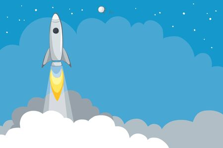 Spacecraft launch. Vector background with copy space, rocket flies up. EPS 10.