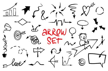 Cheerful arrows - set. Collection of vector hand-drawn images: pointers, diagrams, etc.
