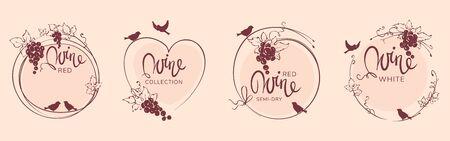 Wine label with birds and grapes / Set vector illustration, floral design element