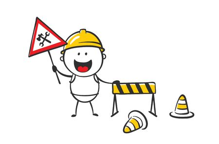 Under construction. Vector illustration, funny man warns of ongoing repair work.
