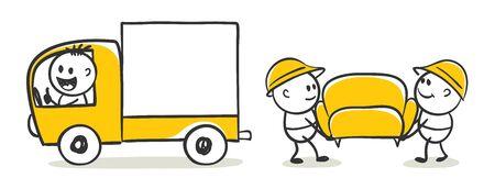 Ð¡argo transportation. Funny little men carry a sofa in a truck, vector illustration. Stockfoto - 142938085