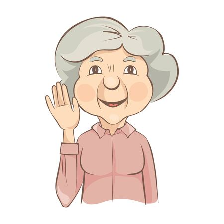 Grandma waves her hand. Elderly woman greets us holding up a hand, vector illustration.