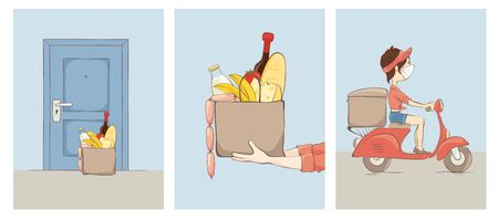 Ð¡ontactless food delivery. The girl on a scooter courier delivers products to doors, vector illustration.