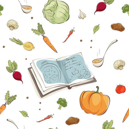 Background-- Cookbook and vegetables. Seamless vector pattern, illustrations with vegetarian soup ingredients