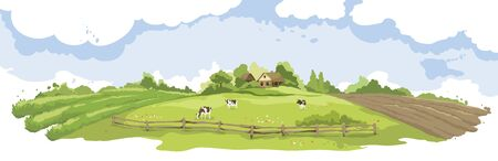 Abstract summer landscape -- farm fields / Vector illustration, rural view -- fields and meadows, old village, herd of cows