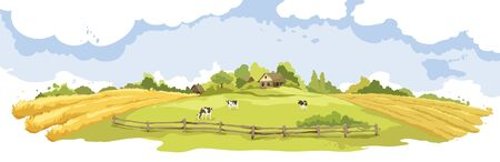 Abstract rural landscape with cows and village. Watercolor vector illustration, wheat fields and meadows. Vetores