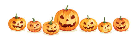 Watercolor pumpkins. Jack O'Lantern. Vector illustration in watercolor painting style. Background for Halloween party.