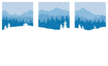Abstract landscape with mountains and forest. Three vector illustrations. Set of Christmas wallpaper.