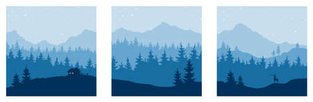 Abstract landscape with mountains and forest. Three vector illustrations. Starlight night.
