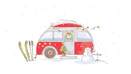 Winter travel in a house on wheels / Funny red house on wheels in winter landscape, vector illustration