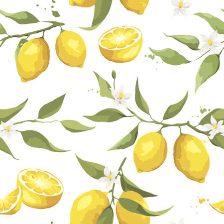Summer pattern with lemon branch. Background with citrus fruits, vector illustration, print.