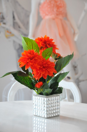 factitious: Decorative bouquet artificial flowers in the hall