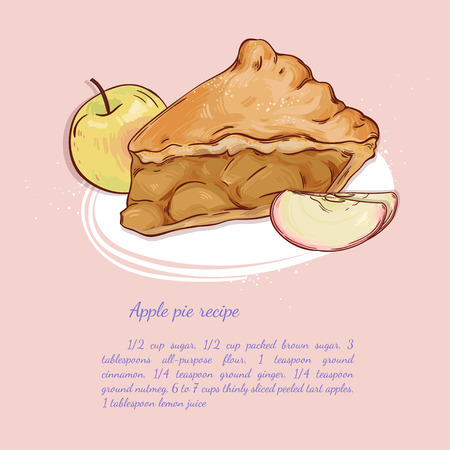 Sweet apple pie, hand drawn illustration. Can be used in textile design, postcards, calendars, websites, wallpapers, packages, backgrounds and othe design