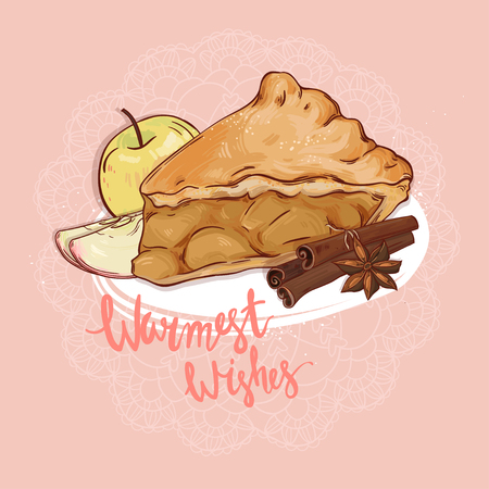 apple pie: Sweet apple pie, hand drawn illustration. Can be used in textile design, postcards, calendars, websites, wallpapers, packages, backgrounds and othe design