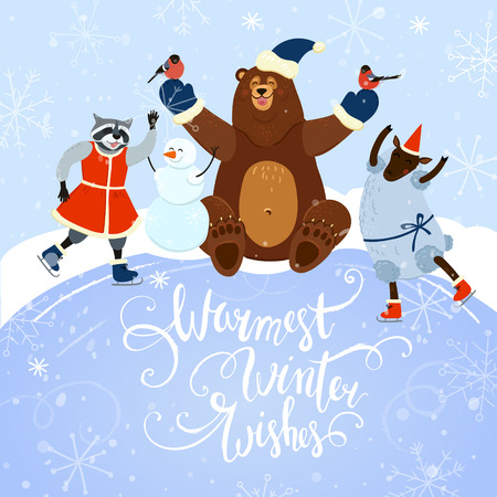 warmest: warmest winter wishes cute winter card with animals playing outdoors and hand drawn letters