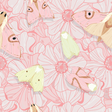 Vintage style seamless natural ornate pattern with lineart flowers and moths. Can be used as a textile, wrapping, greeting, invitation or holiday card, wallpaper.