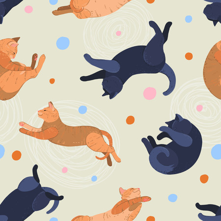black and red cat: Sleeping black and red cat seamless pattern