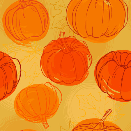 Seamless autumn pumpkin seamless pattern. Seamless patterns are used in textile design, postcards, calendars, websites, wallpapers, packages, backgrounds