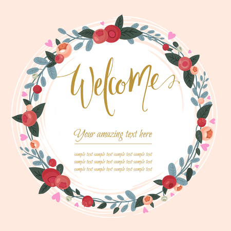 cranberry: Beautiful vintage card. Floral frame, can be used as greeting card,invitation card for wedding,birthday and other holiday. Cute cranberry wreath with berries, leaves, herbs and calligraphy.