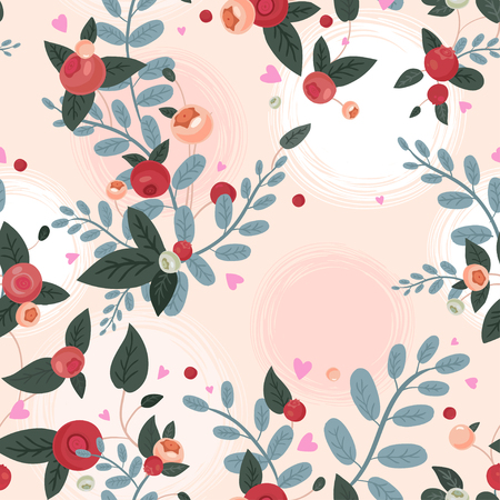cranberries: Vintage style seamless natural ornate pattern with cranberries, leaves, herbs and hearts. Can be used as a textile, wrapping, greeting, invitation or holiday card, wallpaper. Illustration