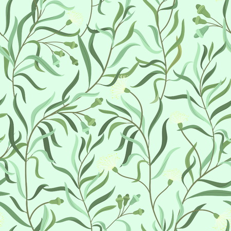 eucalyptus: Beautiful seamless floral pattern with herbs, eucalyptus branches. Can be used  as a textile, wrapping, wallpaper, background and other decoration