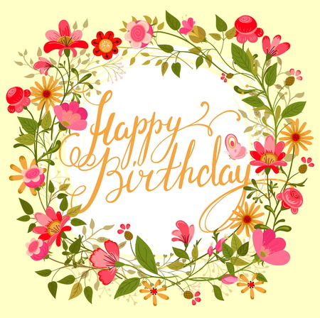 Tarjeta hermosa de la vendimia. Marco floral, se puede utilizar como tarjeta de greating, tarjeta de invitación para la boda, cumpleaños y otro día de fiesta. guirnalda linda de brezo con flores, hojas, hierbas y mariposas