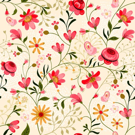 Beautiful summer ornate seamless pattern Can be used  as a textile, wrapping, greeting, invitation or holiday card, wallpaper