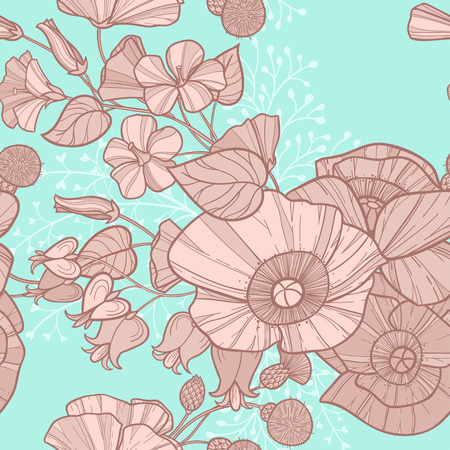 pastel like: vintage pastel seamless pattern with different wilflowers, like poppies and bindweed. can be used for backdrop, wallpaper, wrapping paper, textile and other design
