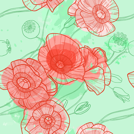 sepals: Cute seamless summer pattern with bright red poppies on beige background. Can be used as background, textile, wrapping paper, wallpaper and other designs Illustration