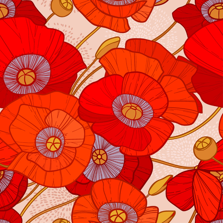 sepal: Cute seamless summer pattern with bright red poppies on beige background. Can be used as background, textile, wrapping paper, wallpaper and other designs Illustration