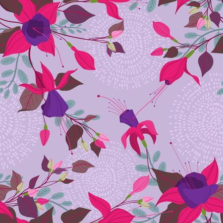 flores fucsia: Estilo vintage sin patrón adornado floral con flores fucsias, hojas, hierbas. Puede ser utilizado como un material textil, embalaje, saludo, invitación o tarjeta de vacaciones, fondo de pantalla