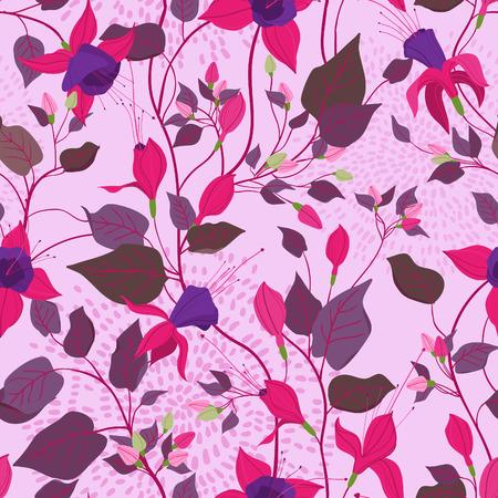 flores fucsia: sin patr�n floral de estilo vintage adornado con flores fucsia, hojas, hierbas. Puede ser utilizado como un material textil, embalaje, saludo, invitaci�n o tarjeta de vacaciones, fondos de escritorio