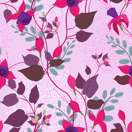 flores fucsia: Vintage style seamless floral ornate pattern with fuchsia flowers, leaves, herbs. Can be used  as a textile, wrapping, greeting, invitation or holiday card, wallpaper