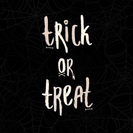 Cute cartoon words Trick or treat with bones and scull on spider web seamless pattern
