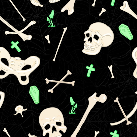 scull: Scary halloween pattern with bones, scull, tombstones, coffins and fungus Illustration