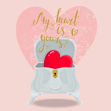 open day: Beautiful, romantic, Valentines card. Bright red heart in a vintage luxurious silver box. Nice calligraphic hand written love message Illustration