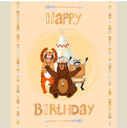 native american baby: Cute tematical american indian Happy Birthday card with funny bear, raccon, tiger and tipi