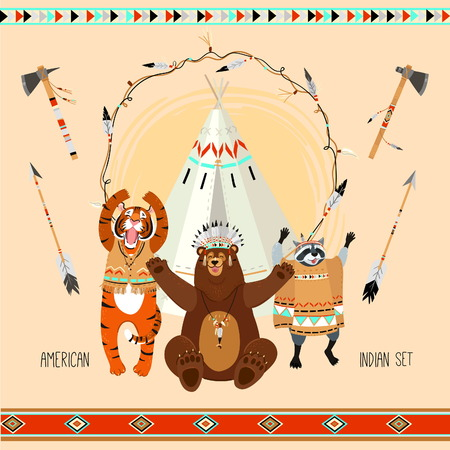 tipi: American indian kids party element set with animals, tipi, arows, patterns and axes Illustration