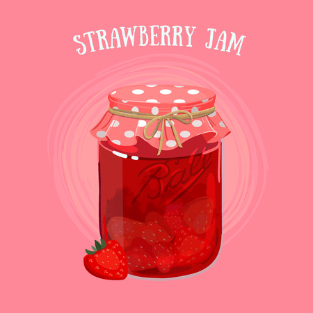 glass jar: Delicious vegan jam in a jar, made of ripe juicy berries covered with textile cap.
